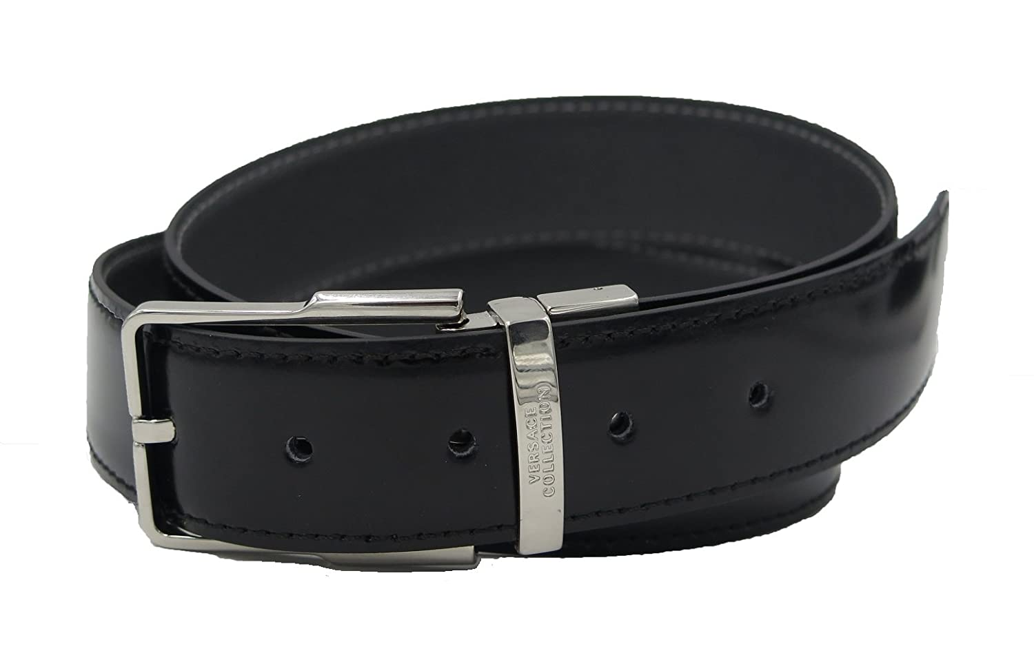 Amazon.com  VERSACE COLLECTION Italy Men s Black Gray Leather Reversible Adjustable  Belt 192 (100)  Clothing c1eae680348