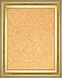 Framed Cork Board 24'' x 36'' - with Gold Finish Frame with Ornate Design on Edge