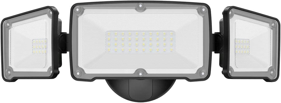 LEPOWER 3500LM LED Flood light Outdoor, Switch Controlled LED Security Light, 35W Super Bright Exterior Lights with 3 Adjustable Head, 5500K, Full Metal Design, IP65 Waterproof for Garage, Yard, Patio