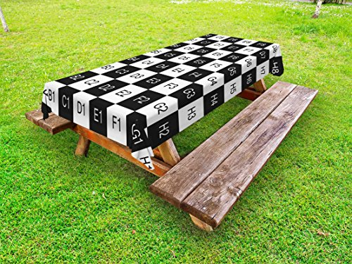 Ambesonne Checkers Game Outdoor Tablecloth, Monochrome Chess Board Design with Tile Coordinates Mosaic Square Pattern, Decorative Washable Picnic Table Cloth, 58