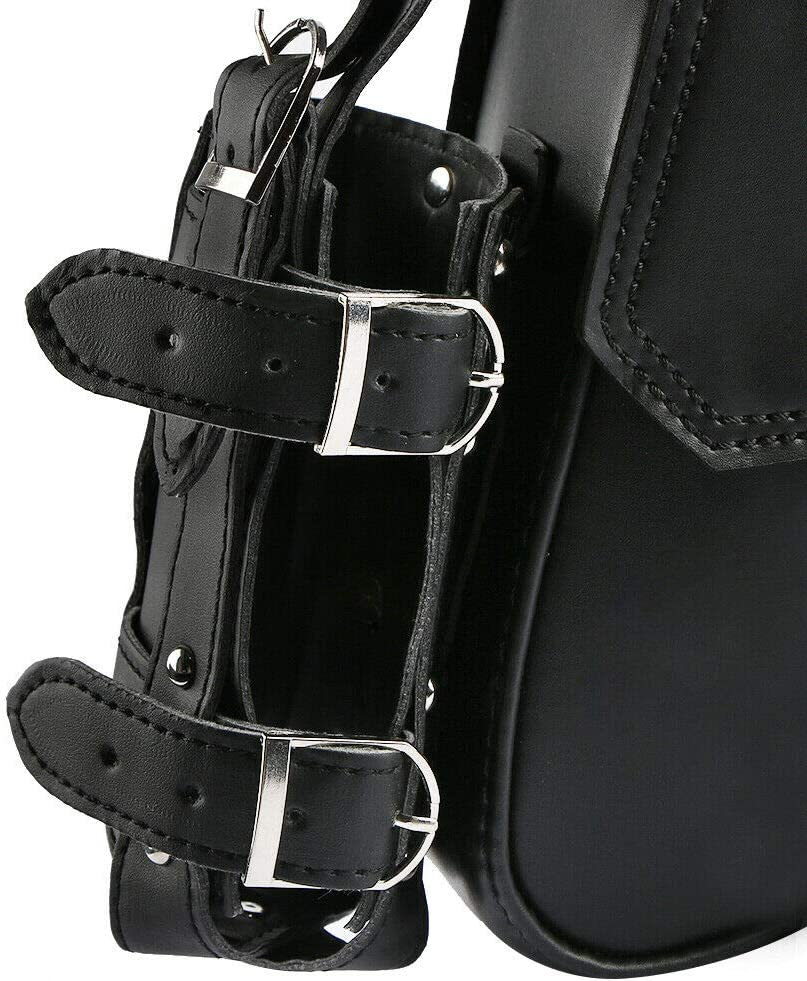 DLLL 1 Pair Left /& Right Black PU Leather Motorcycle Tools Bag Solo Side Swing Arm Saddle Bag Pannier Storage Saddlebag for Harley Davidson Dyna Sportster Cruiser Fat Bob XL883 XL1200 Left /&Right