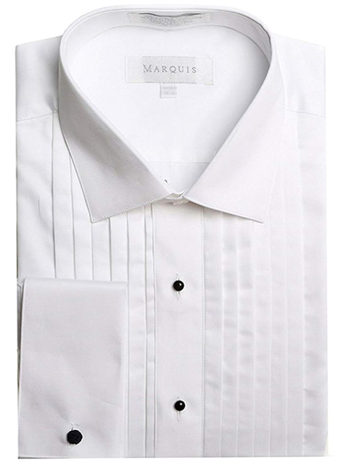 Marquis Men's French Cuff Lay Down Collar Tuxedo Shirt (Cufflinks Included) (16.5 34/35, White)