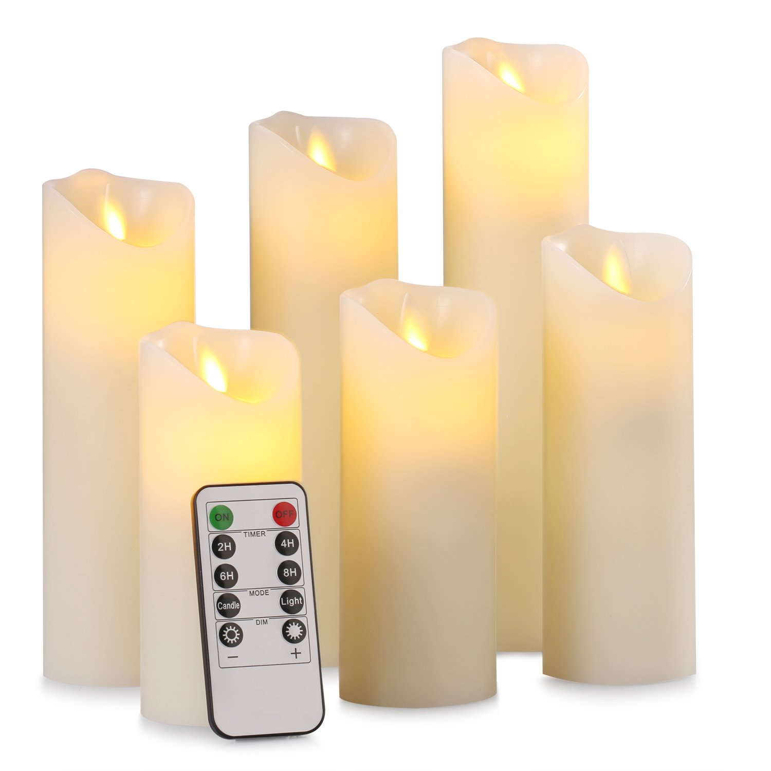 Pandaing 5'' 5.5'' 6'' 7'' 8'' 9'' Set of 6 Flameless Battery Operated Candles with Remote Control 2/4/6/8 Hours Timer Function, Classic Pillar Moving Flame Real Wax LED Candles