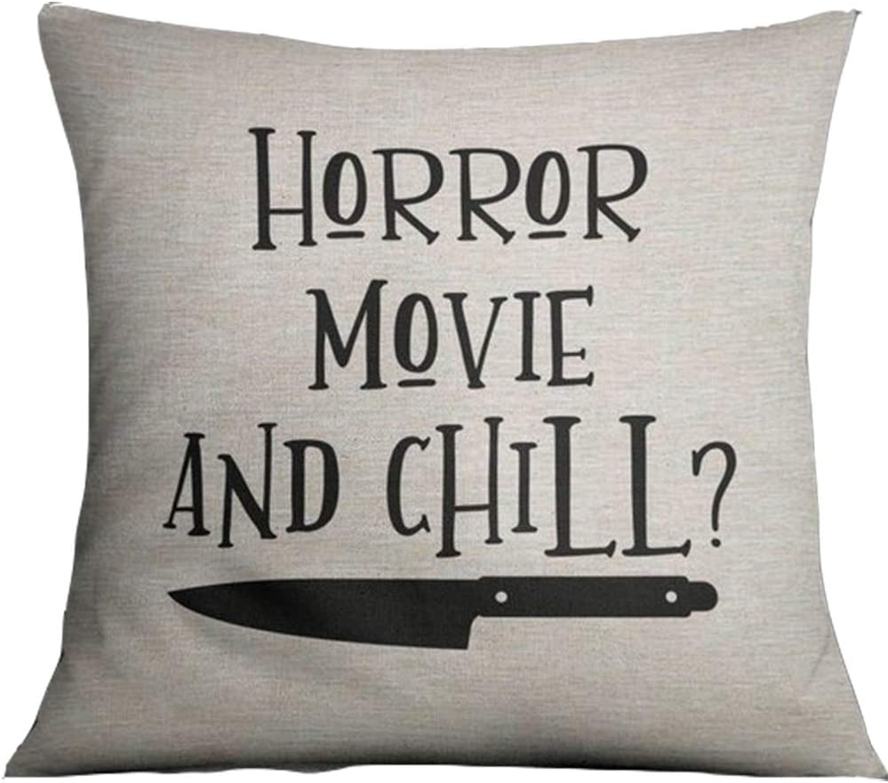 Horror Movie and Chill Pillows Covers 18x18inch Halloween Throw Cushion Covers Linen Cotton Pillowcase for Home Bed Couch Color:3