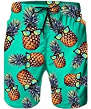 TUONROAD Mens Boys Swimming Trunks Retro Vintage Swim Shorts Cool Yellow Green Pineapple with Blue Black Sunglasses Board Shorts Surf Shorts with Adjustable Drawstring Side Pockets