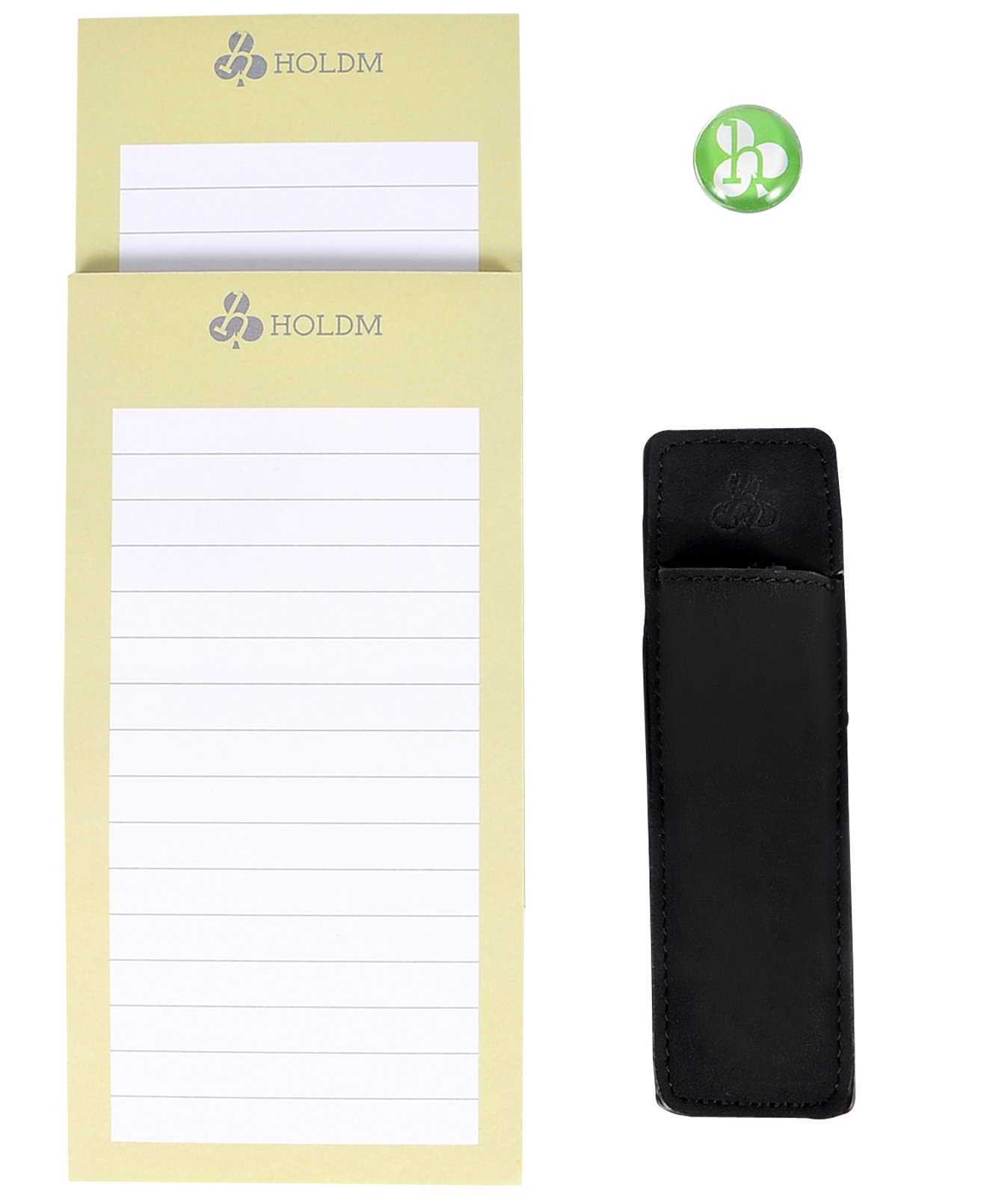 HOLDM Strong Refrigerator Magnetic Memo Notepads for To Do List, with Bonus Leather Pen Holder and Fridge Magnet (2 pads+1 pen holder +1 magnet)