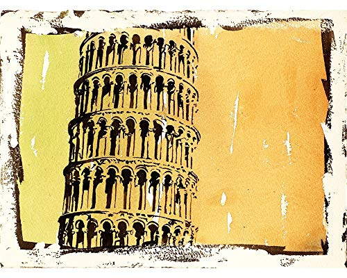 Fine art watercolor painting w/faux photo borders of the campanile (bell-tower) of the Cathedral of Pisa- better known as the Leaning Tower of Pisa (print) (Raleigh Outdoor Dining)