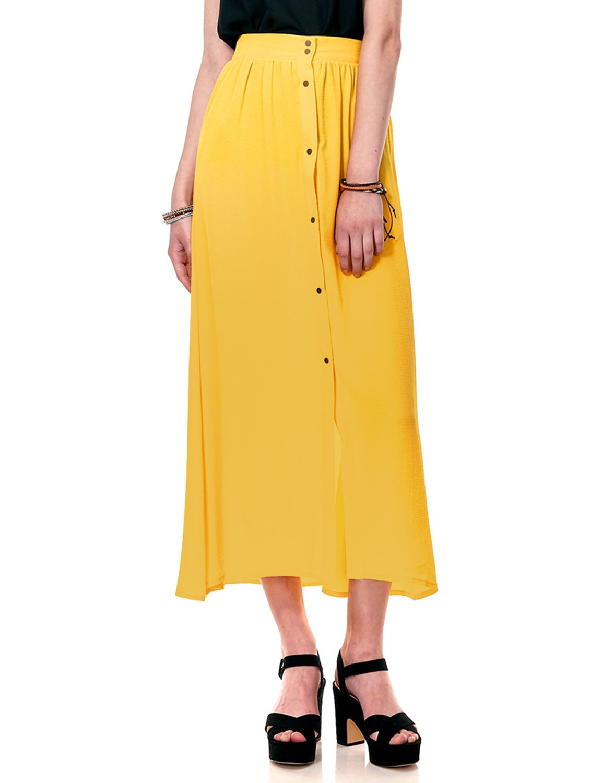 Regna X Boho for Womans Buttons Regular fit Textured Yellow 2XL Plus Size Big Chiffon Long Maxi Dress Skirt