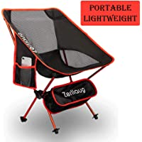 Zerllaug Folding Camping Chair Heavy Duty 270 lb Capacity w/ Carry Bag (Red)
