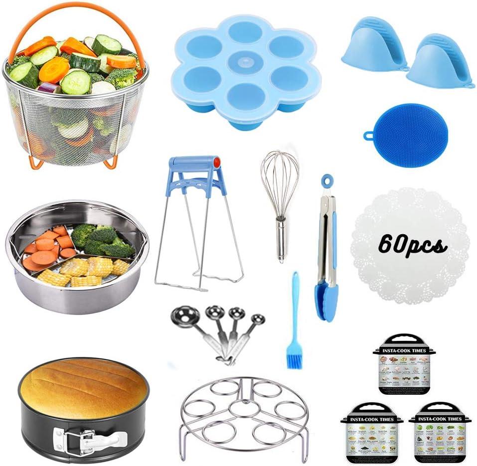Accessories for Instant Pot,18 Pieces Pressure Cooker Accessories 5,6,8 Qt,Steamer Basket,Springform Pan, Silicone Egg Bite, Steamer Rack, Egg Whisk, Dish Clip