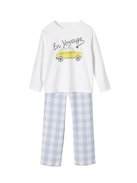 VERTBAUDET Pijama de dos tejidos niño BLANCO CLARO LISO CON MOTIVOS 14A