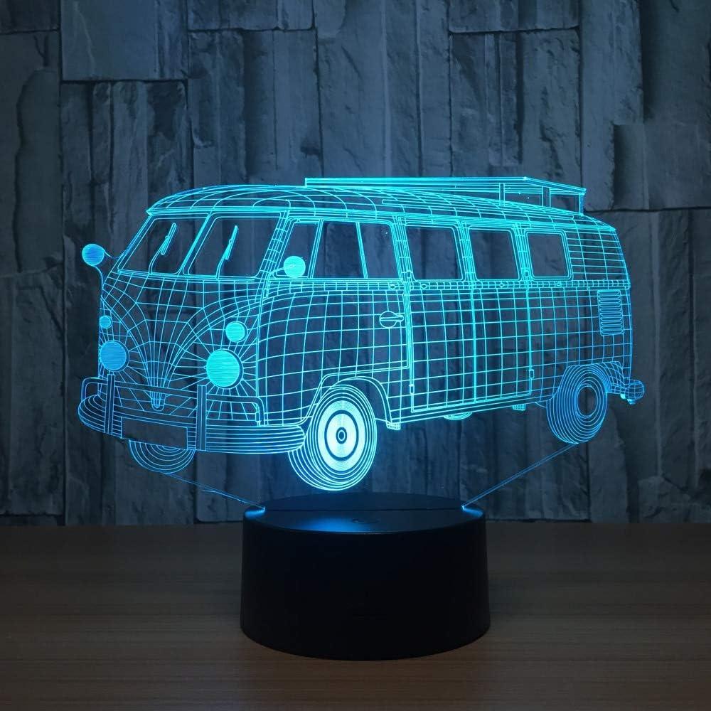 Ilusión Visual Camping Luz de autobús Acrílico Transparente Luz de Noche Cambio de Color Mesa táctil Bombilla Luz de la habitación
