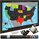 Premium Scratch Off USA Map | Black Personalized Wall Map Poster | Deluxe Gift for Travelers & Travel Tracking | Bonus Adhesive Stickers + Scratching Tool + Wiping Cloth + Traveling eBook