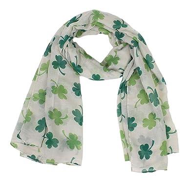 6a4e490880a LianMengMVP Le Jour De La Saint-Patrick Echarpe Femme Irlandaise Verte  ChâLe TrèFle à Quatre