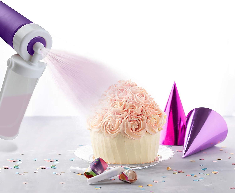 Handheld Airbrush Cake Coloring Duster - Food-Grade Plastic Spray Guns Cake Syringe Pen Sprinkles Decorating Set Dessert Candy Sculpting Tools - 4 Spare Spray Pump (Purple)