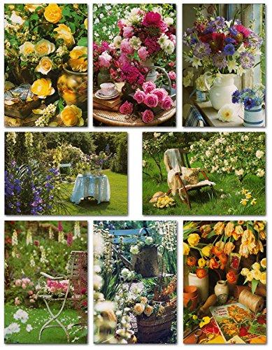 50 Grußkarten Klappkarten mit 50 Umschlägen Blumen & Garten - 8 Motive - Markenware - Glückwunschkarten 99-1960