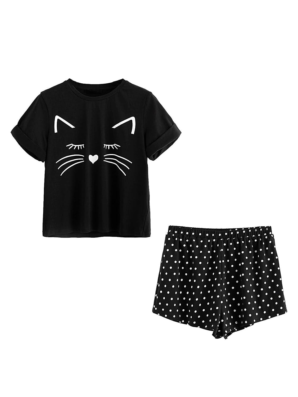 DIDK Damen Pyjama Set mit Katz-Muster Top und Polka Dot Short Hose Schlafanzug