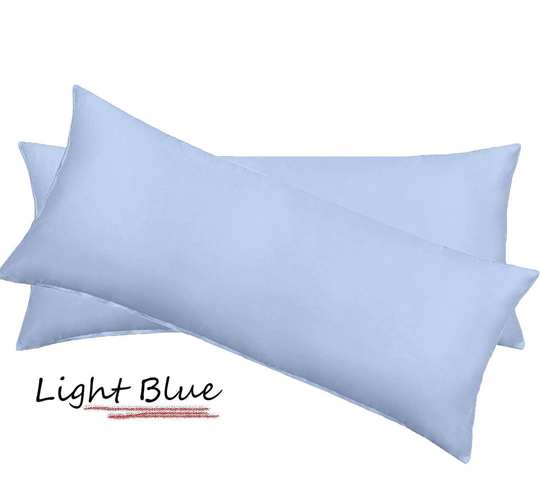 "100% Egyptian Cotton 600 Thread Count Solid Body Pillow Case Envelope Closure size 20"" x 54"" Inch ( 50cm x 137cm) Light Blue"