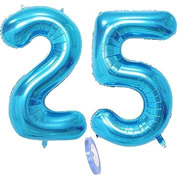 2 Globos Número 25, Número 25 Globo Blue Girl Boy Guys ...