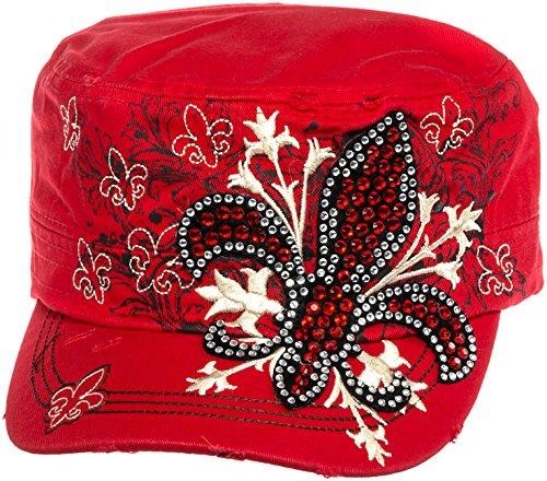 Crystal Case Womens Cotton Rhinestone Fleur de Lis Cadet Cap Hat (Red)