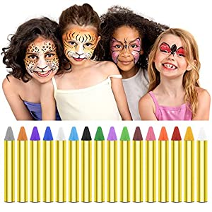 Face Paint and Body Crayons, Kids Washable Coloring Markers. 16 Colors Safe & Non-Toxic Facepainting Sticks, Washable Face Paint Crayon Kits for Kids Parties, Festivals, Christmas Children Gift