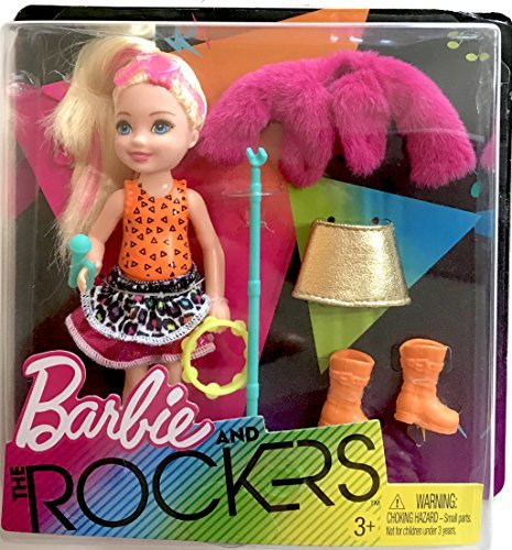 Rocker Barbie - Pink Streaked Blonde Chelsea Doll, 5.5 inches tall with Tambourine and Fashion Accessories Playset ,2017 Edition, Complete with