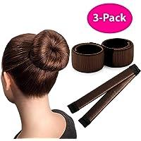 Hair Bun Maker, Magic Hair Bun Making Tool Donut Bun DIY Hair Styling Hair Bun Shaper Ballet Hair Bun Brown, 3 Pack