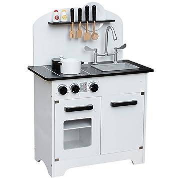 Amazon.com: Pidoko Kids Oslo Play Kitchen, White - Wooden Modern ...