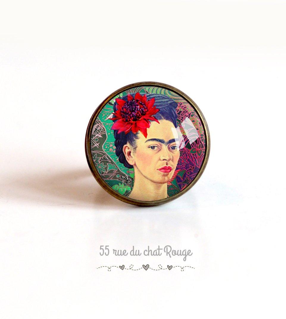 Anillo Cabujón 20 mm Cabujón Frida Khalo, retrato mujer, México, Colores