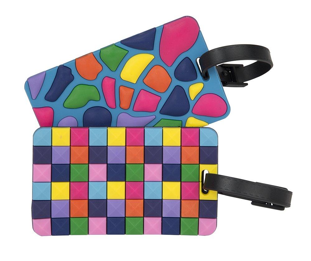 Travelon Set of 2 Luggage Tags Jewel Mosaic, Multi, One Size 12967