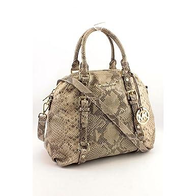 f54b57ae4b75 Michael Kors Bedford Angora Python Leather Large Bowling Satchel Shoulder  Bag  Amazon.co.uk  Clothing