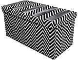 Sorbus Chevron Storage Ottoman Bench – Foldable/Collapsible with Lid Cover – Perfect Hassock, Foot Stool, Toy Storage Chest, and more (Medium-Bench, Black)