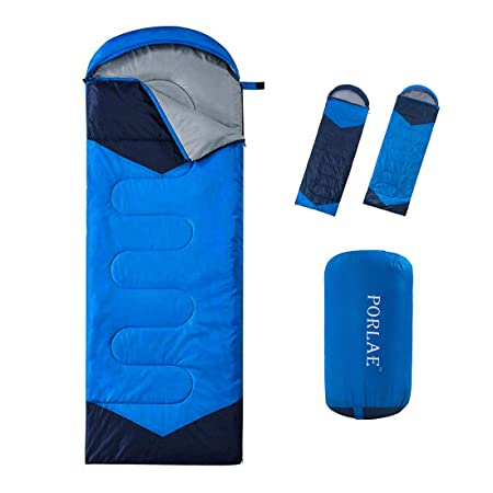 PORLAE Sleeping Bag with Compression Sack – Envelope or Mummy 4 Season Sleeping Bag for Adults Kids – Lightweight Warm and Washable for Hiking Camping Outdoor Activities
