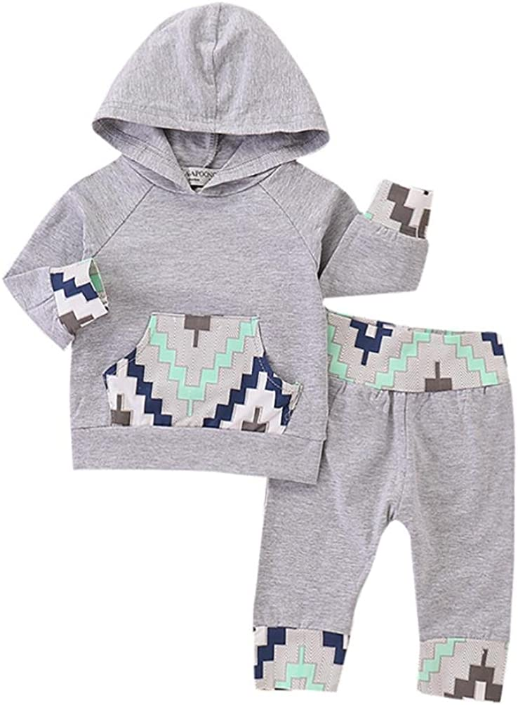 Lavany 2PC Baby Clothes Set Boy Long Sleeve Geometric Print Hoodie Tops+Pants Outfits