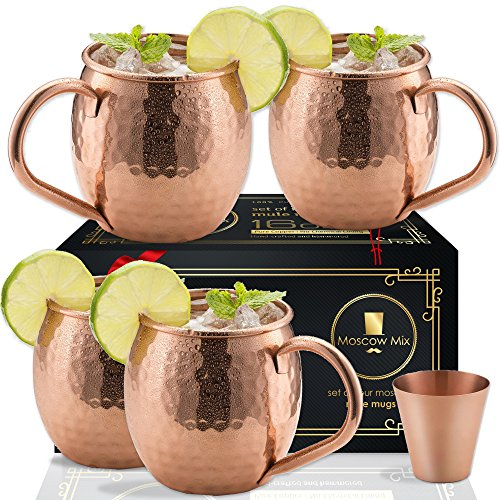 (Moscow Mule Copper Mugs Set of 4 - Solid Copper Handcrafted Copper Mugs for Moscow Mule Cocktail - 16 Ounce - Shot Glass Included)
