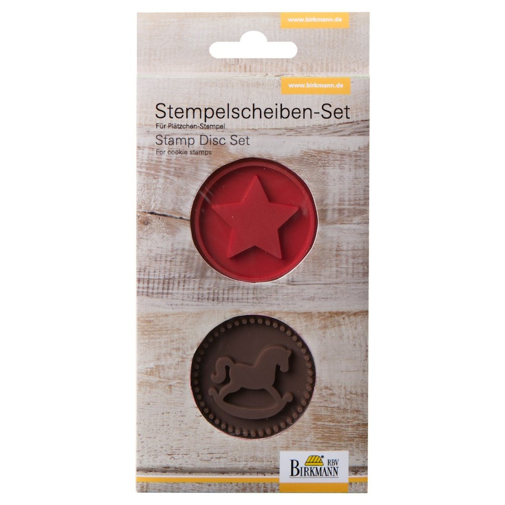 Birkmann Stamp Disc Set Rocking Horse & Star, Silicone, Brown/Red, 7 x 7 x 1 cm RBV Birkmann 340466
