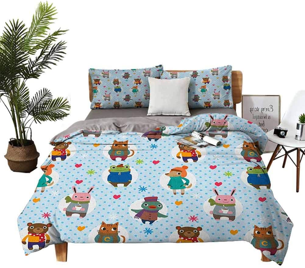 DRAGON VINES 4 Bedding Cover Set Bedding Cover Sets Crib Sheets Cartoon Sea Creatures with Seahorse Crabs Fish Aqua Drawing Style Teal Mustard Dark Coral Soft Comfortable W80 xL90