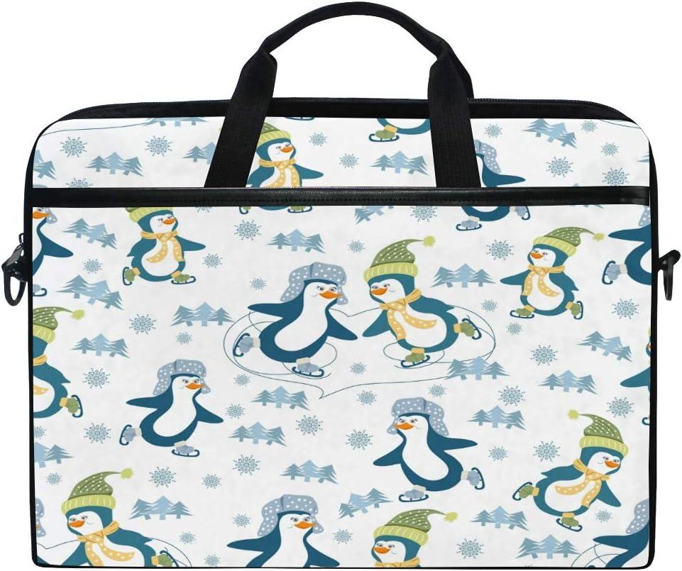 HAIIO Laptop Bag Case Winter Tree Skating Sport Penguin Computer Protector Bag 14-14.5 inch Travel Briefcase with Shoulder Strap for Women Men Girl Boys