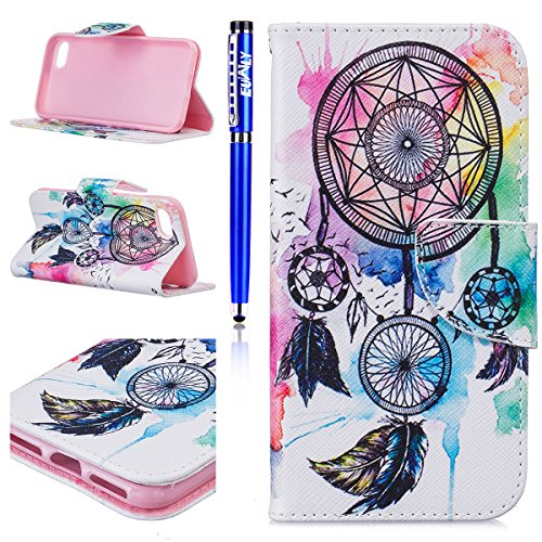Fundas Apple iPhone 6 Plus/iPhone 6s Plus (5.5), EUWLY Carcasa iPhone 6s Plus Funda Piel Sintética Slim Folio PU Leather Premium Cartera Carcasas Flip Cover Case Libro PU Cuero Wallet Funda con Tapa  Pluma Campanula