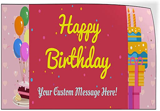 Custom Door Decals Vinyl Stickers Multiple Sizes Happy Birthday Message I Holidays and Occasions Happy Birthday Outdoor Luggage /& Bumper Stickers for Cars Blue 34X22Inches Set of 10