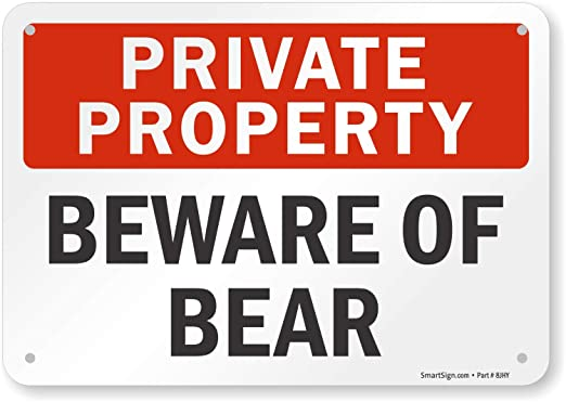 Propiedad Privada - cartel de señal de oso, 10