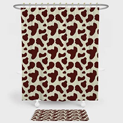 Cow Print Shower Curtain And Floor Mat Combination Set Cattle Skin With Brown Spots Agriculture