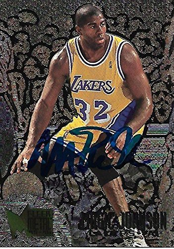 1996 Fleer Metal Los Angeles Lakers Magic Johnson Signed Auto Card 161 IN PERSON - Basketball Autographed Cards ()