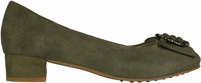 64ed256369 Greta Dirndl Pumps Schuhe Olive Schnalle Silber Kleiner Absatz Leder  Trachtenschuhe Tracht Veloursleder
