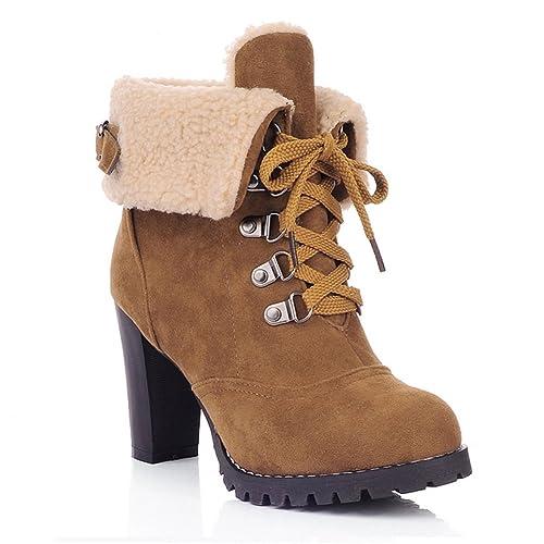 Eleganti Con Up Stivali Donna Plateau Inverno Lace Ankle Tacco Scarpe Stivaletti Ukstore Invernali Alto Pelliccia Boots Caldo Camoscio H29eDIbEWY