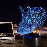 3D Lamp Horse LED Illusion Animal Desk Table Night Light, Tiscen 7 Color Touch Lamp for Kids, Girls, Family Holiday Gift, Home Office Theme Decoration (Horned Dinosaur)