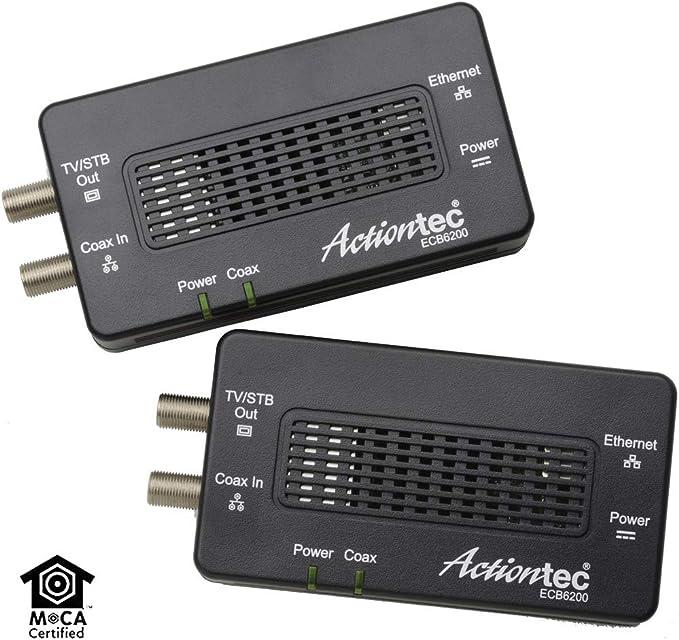 Actiontec Bonded MoCA 2.0 Ethernet to Coax Adapter Black 2 Pack ECB6200K02