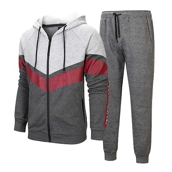 Manluodanni Homme Ensemble Jogging Sports Survêtement Manches Longues  Zipper Sweat à Capuche Loisir Et Pantalons Slim 2aca73df9780