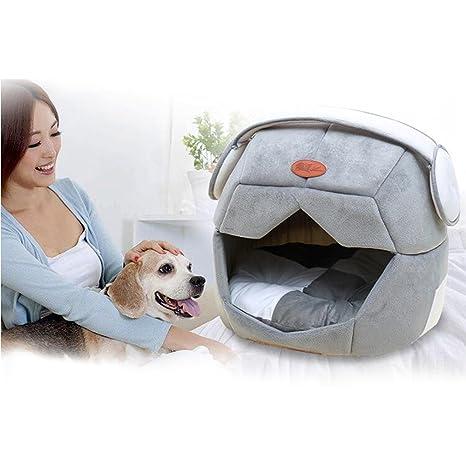 Kuuboo - Cama de perro o gato de felpa suave, casa cómoda lavable, extraíble. Pasa el ...