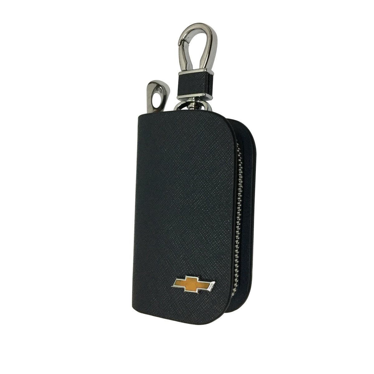New 1pcs Mesh Black Leather Car Key Wallet Zipper Case Keychain Coin Holder Metal Hook Bag Collection For Chevrolet Car Vehicle Auto Lover